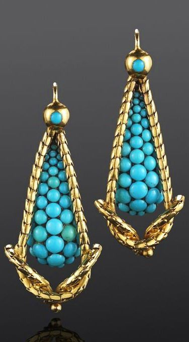 6f6a24e5d3c4a Victorian gold and turquoise earrings. Victorian Gold