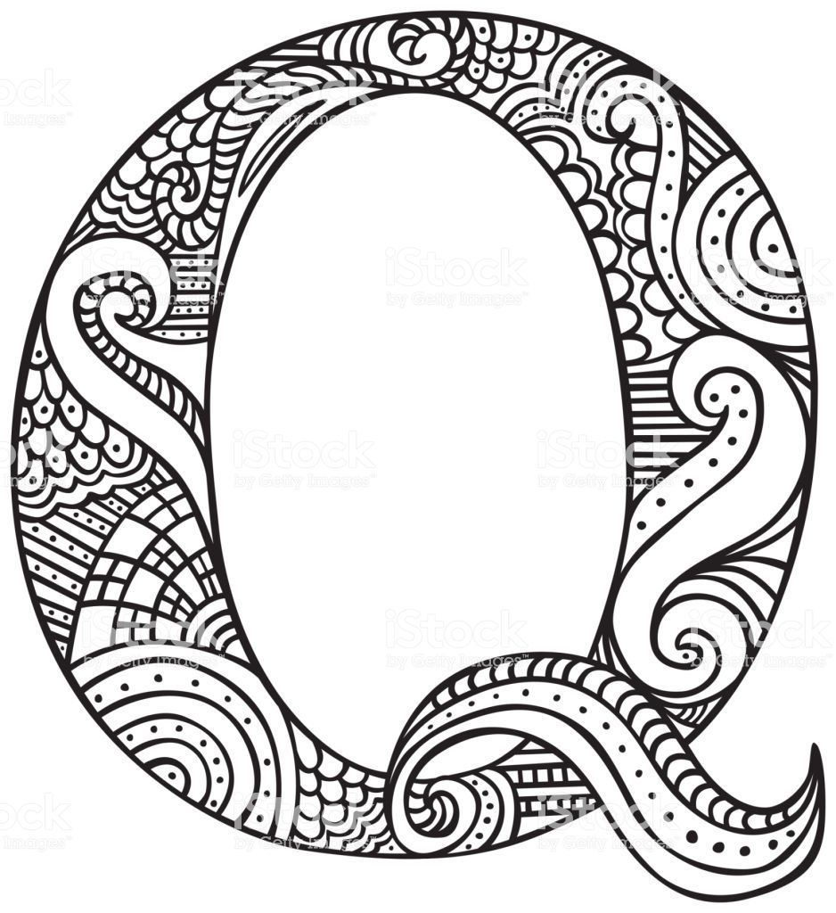Hand Drawn Capital Letter Q In Black Coloring Sheet For Adults How To Draw Hands Coloring Letters Alphabet Coloring Pages