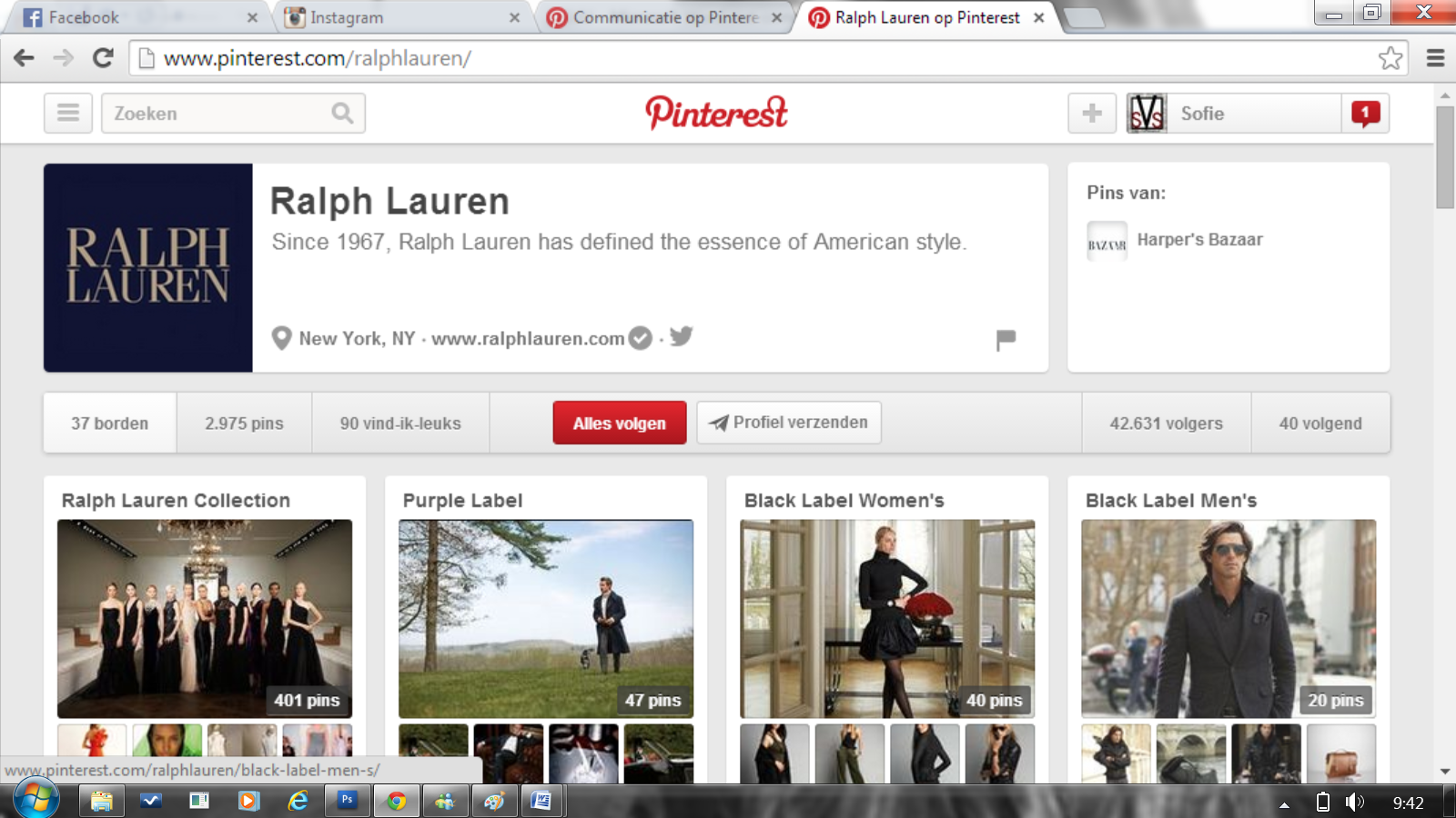 Ook Ralph Lauren gebruikt Pinterest als communicatiemiddel. Hun bord is mooi georganiseerd. Kledij wordt onderverdeeld in 'Childrenswear', 'Women' en 'Man'  http://www.pinterest.com/ralphlauren/