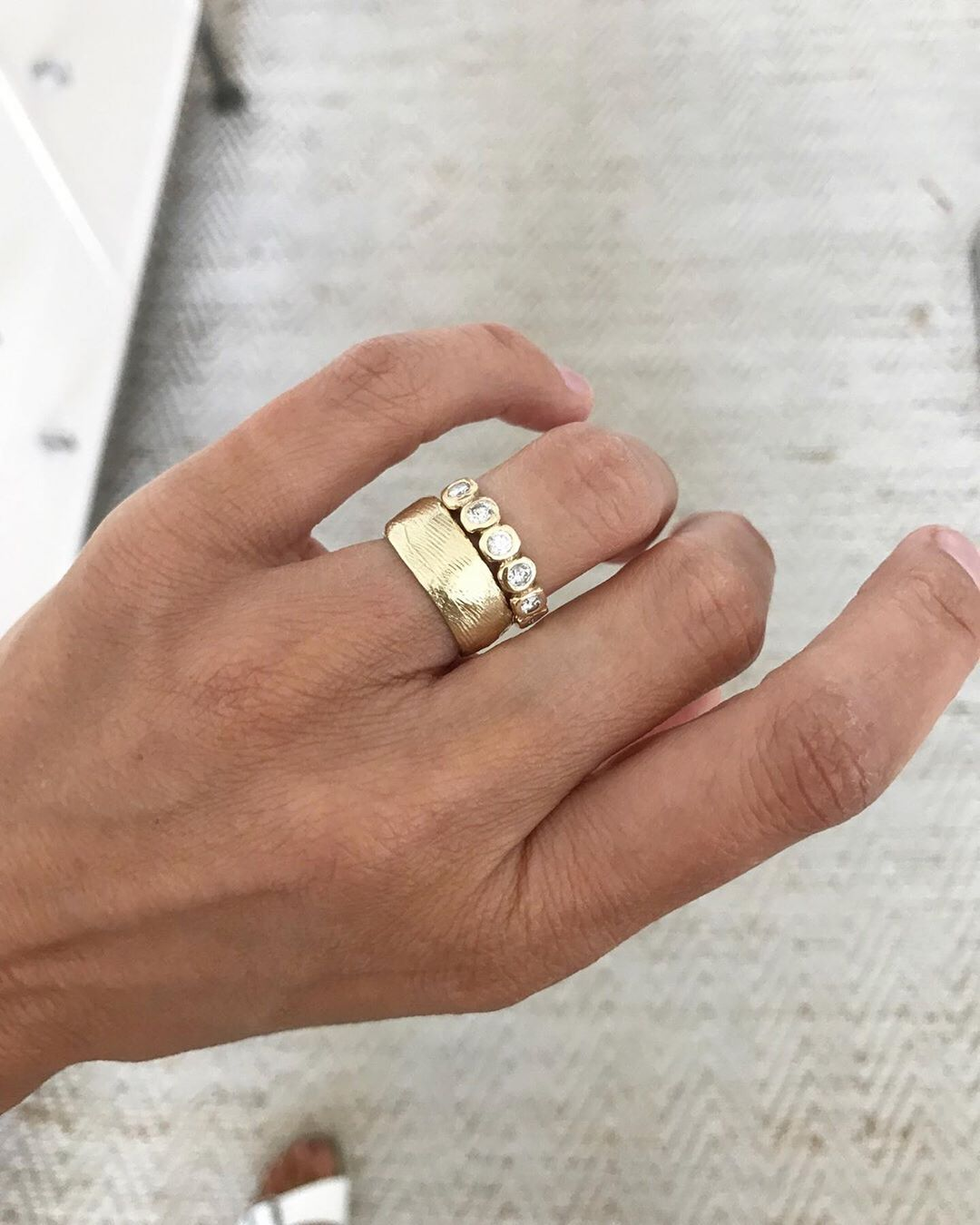 Jane Pope Jewelry On Instagram Love Seeing The Cigar Band With These Three Diamond Rings Gold Band Engagement Rings Ladies Diamond Rings Three Diamond Ring
