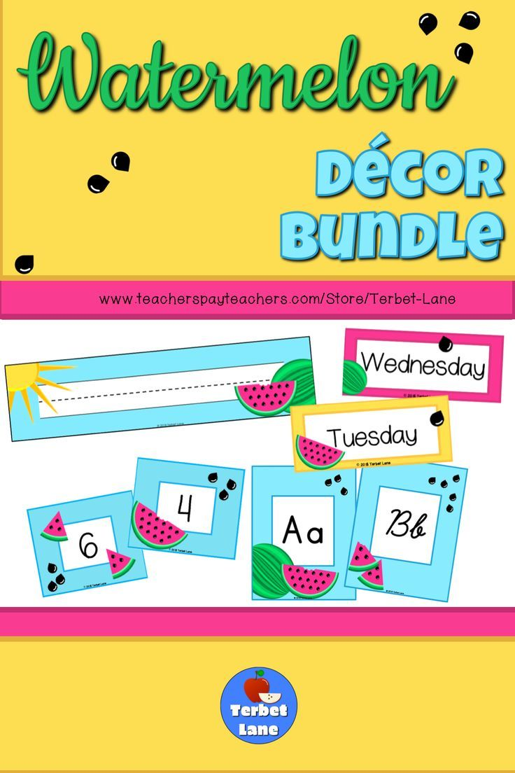 Watermelon Themed Classroom Decor Bundle Watermelon themed name plates bulletin board or pocket calendar and alphabet and number cards in one money saving bundle