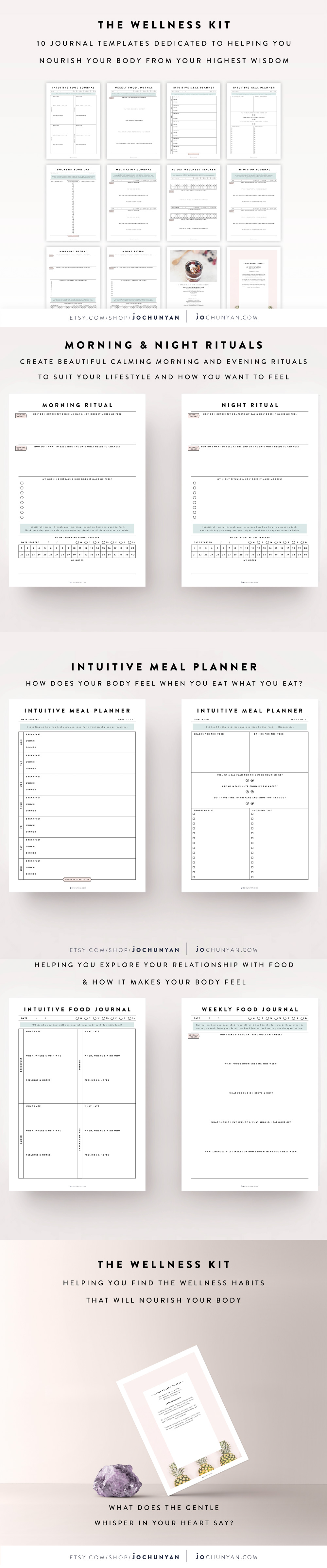 Wellness Kit Journal Guide Tracker Diary Template Bullet Printable Planner Ask A Question