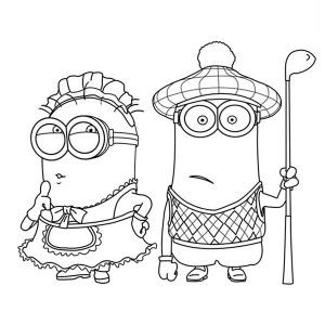 Minion The Mark Maid And Golfer Phil Minion Coloring Page The