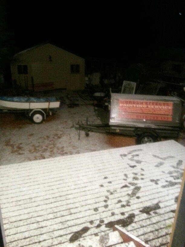 Snow in my backyard...