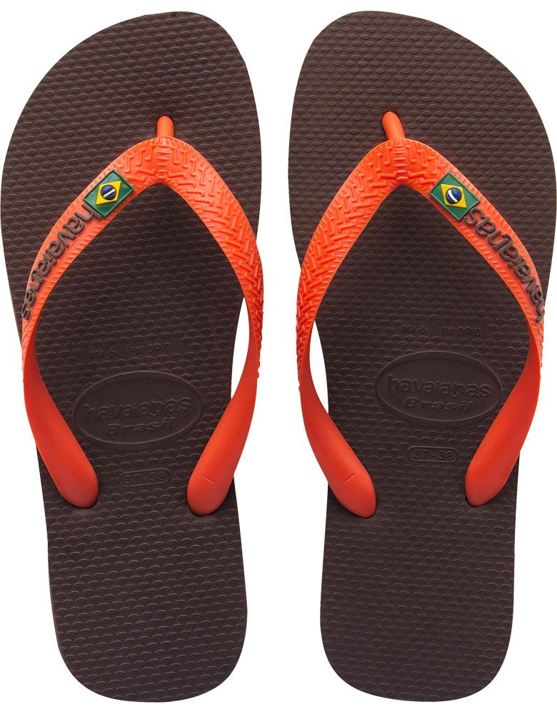ee26abd2dcc4 Havaianas Mens Brasil Logo Flip Flops Dark Brown and Orange ...