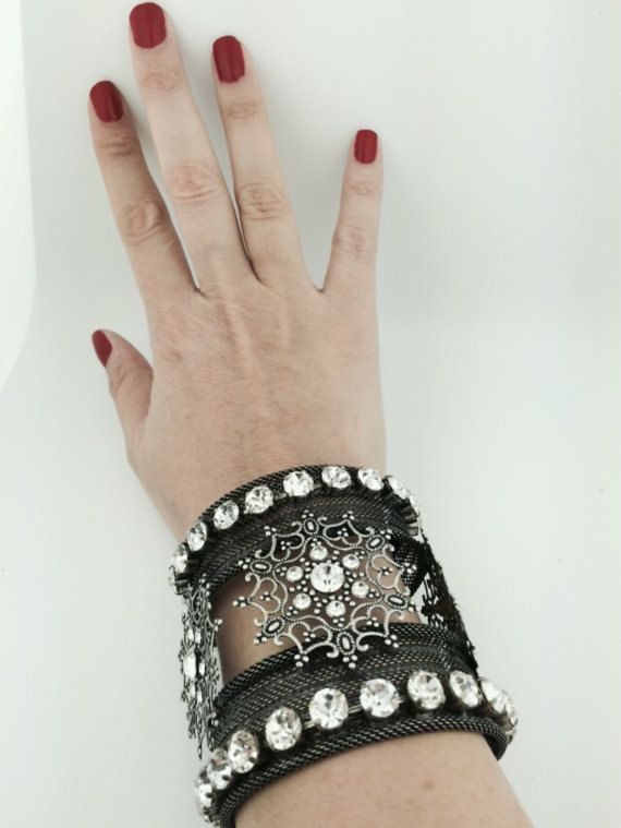 Wide unusual cuff bracelet with crystals