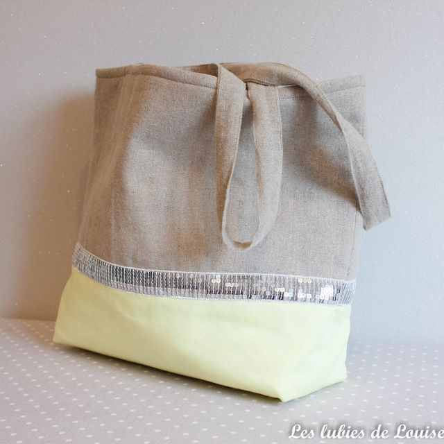 le cabas bicolore pour la plage diy les lubies de louise couture sacs. Black Bedroom Furniture Sets. Home Design Ideas