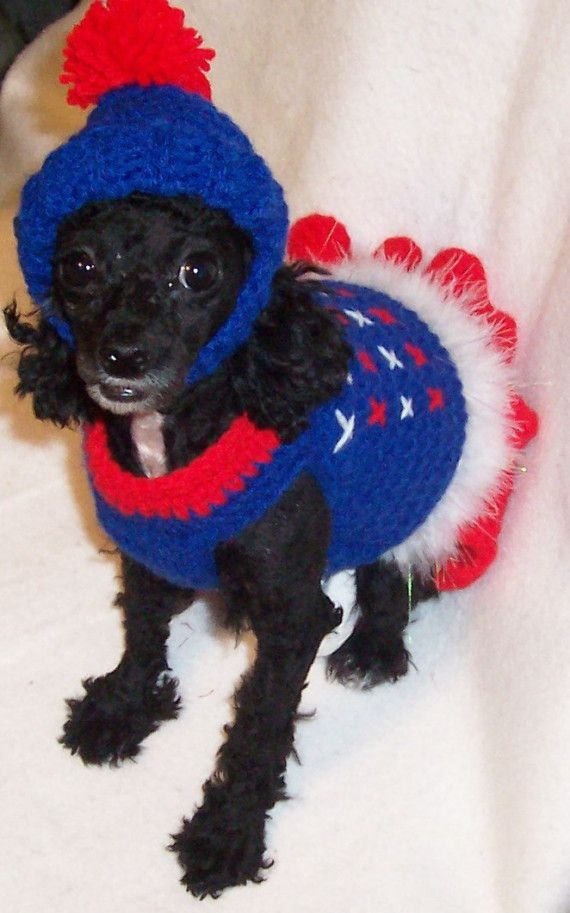 crocheted dog ski sweater and hat dog sweater by ...