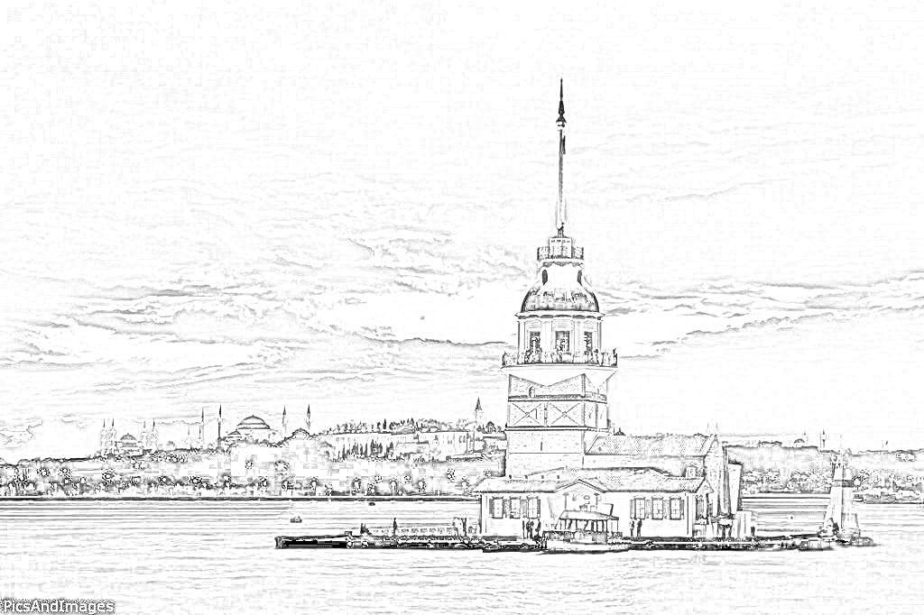 Kız Kulesi Karakalem çizimleri Istanbul Art Pictures Painting