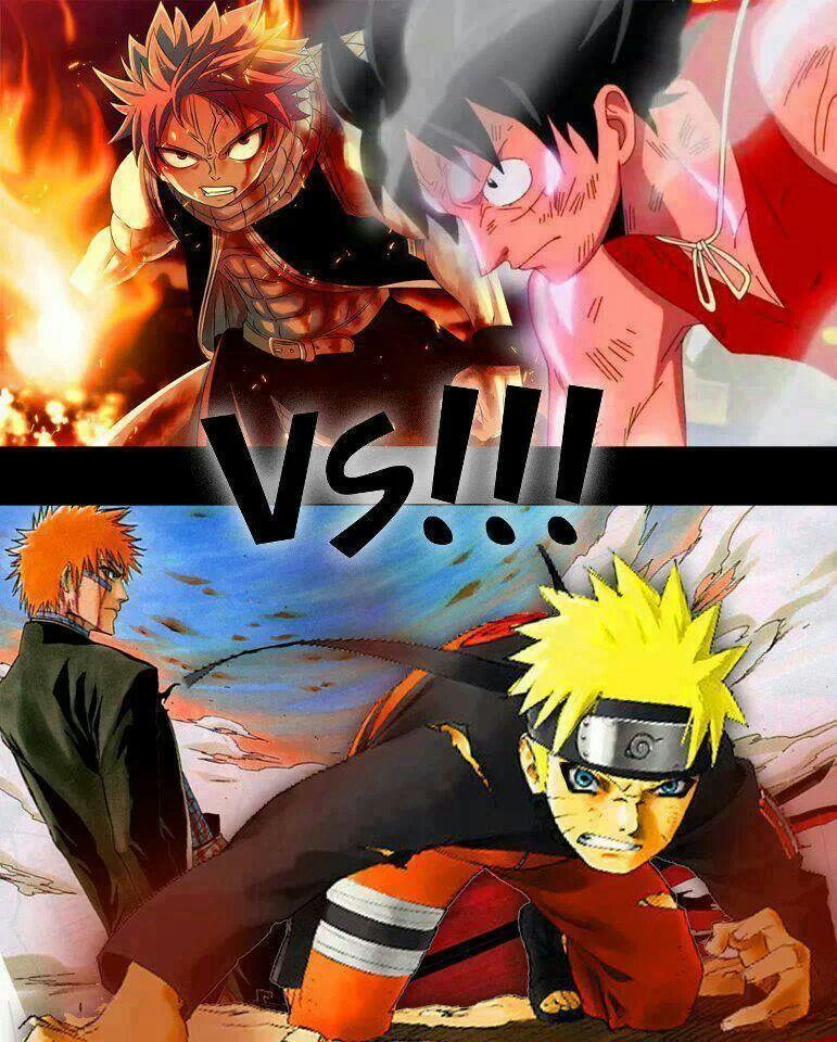 One piece bertema tentang bajak laut, sedangkan naruto bertema ninja atau shinobi. Natsu Luffy Vs Ichigo Naruto Natsu Luffy Wins Anime Anime Crossover Anime Fairy