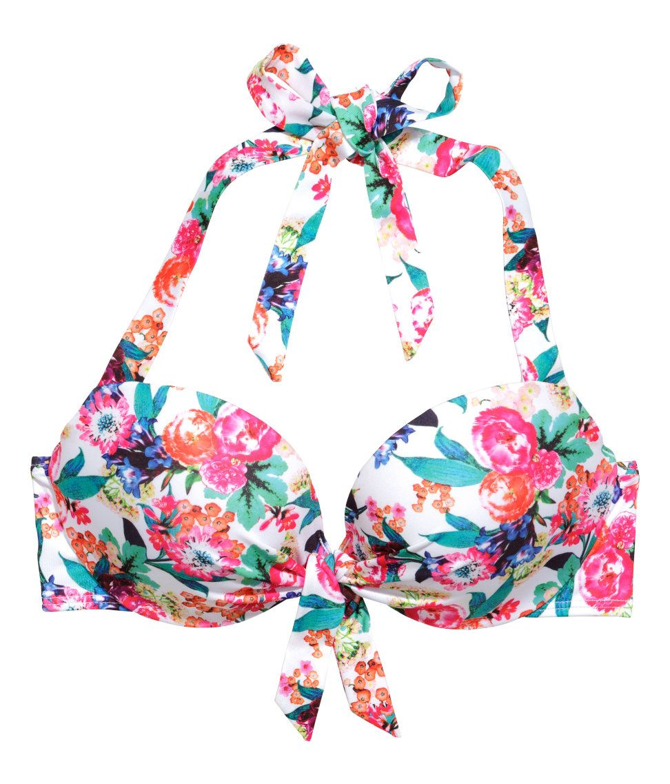 91407cdbbc5c7 Floral bikini top with decorative ties, pleats, and padded underwire cups.  | H&M Swim