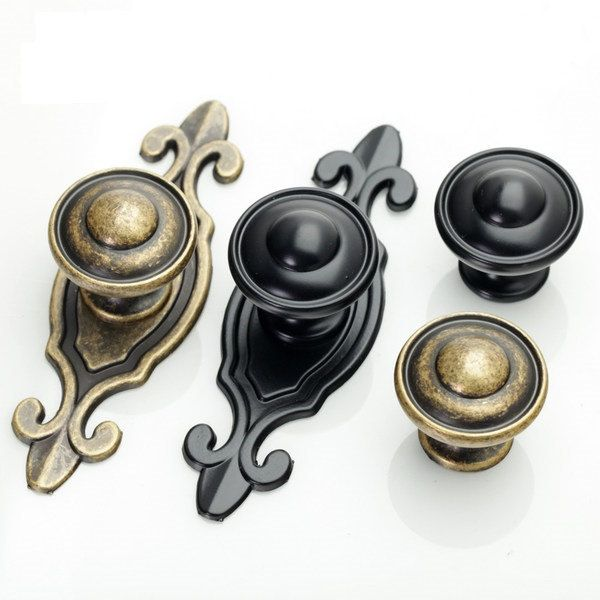 Dresser Knobs Handles Drawer Knobs Pulls Handles Back Plate Black Antique  Bronze Kitchen Cabinet Knobs Pulls - Dresser Knobs Handles Drawer Knobs Pulls Handles Back Plate Black