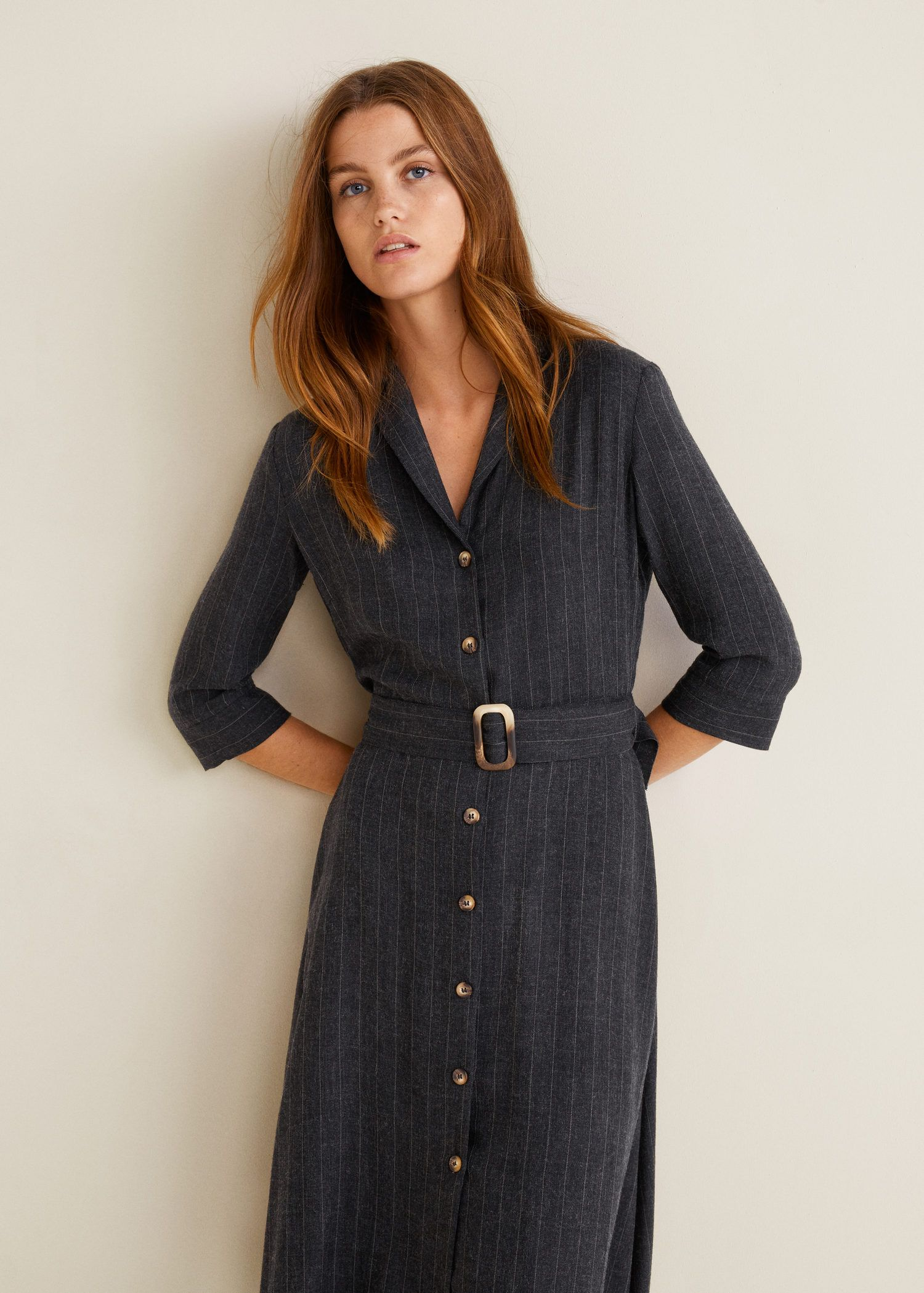 Vestido rayas cinturón - Mujer  Mango España  Gestreiftes kleid