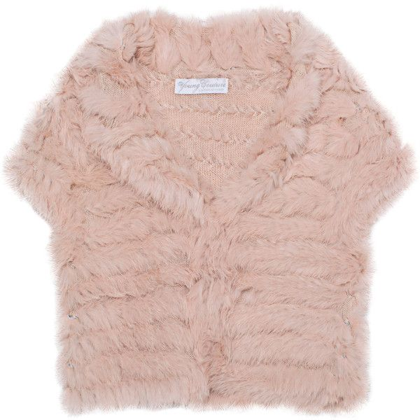 Young Couture By Barbara Schwarzer Bolero Fur Trim Rose Knit Cardigan With Fur Inserts Short Sleeve Cropped Top Knit Cardigan Knit Crop Top