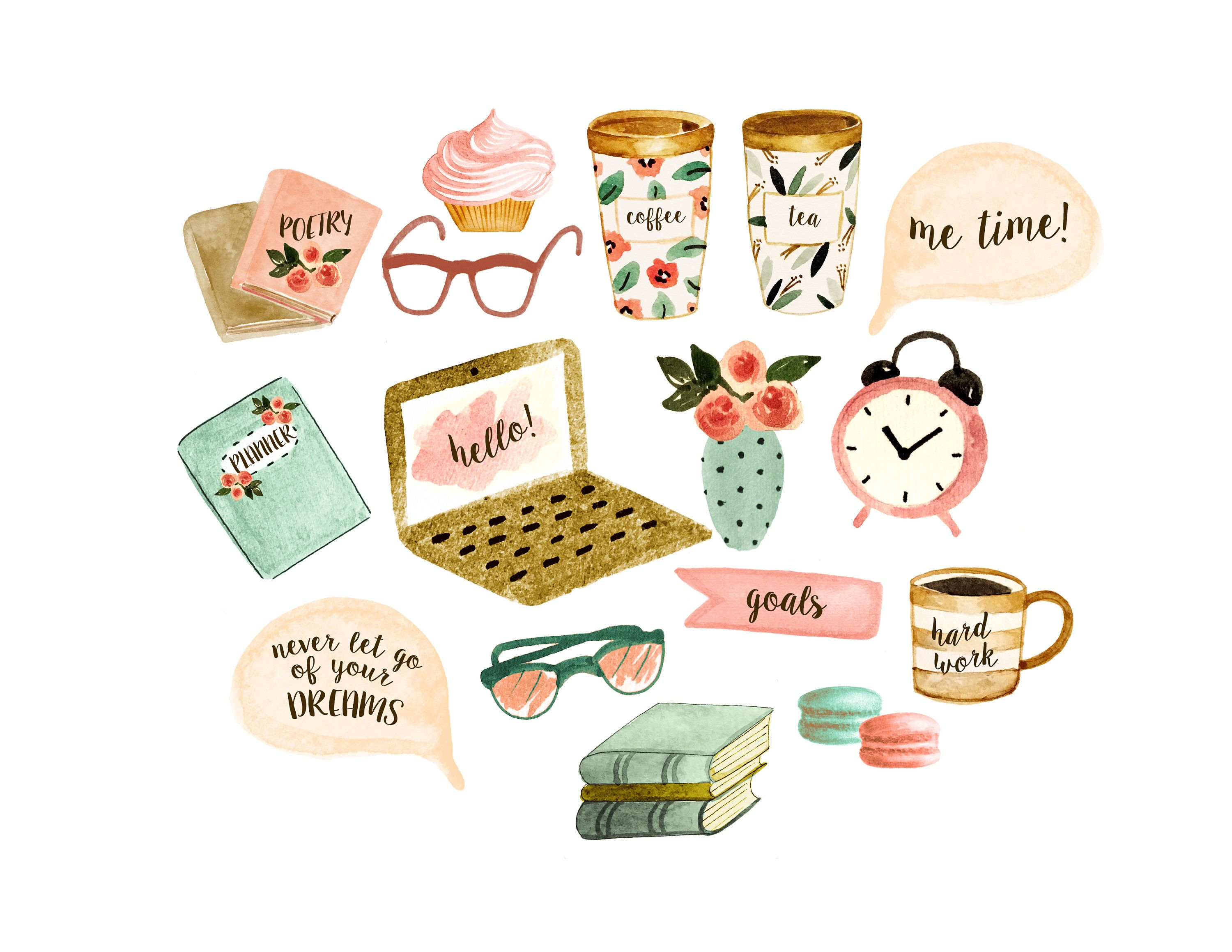 Watercolor Planner Stickers Planner Clipart Coffee Mug สต ก