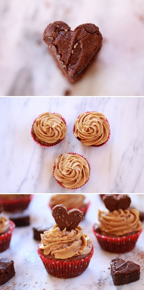 Love Heart Brownie Cupcakes with Peanut Butter Frosting