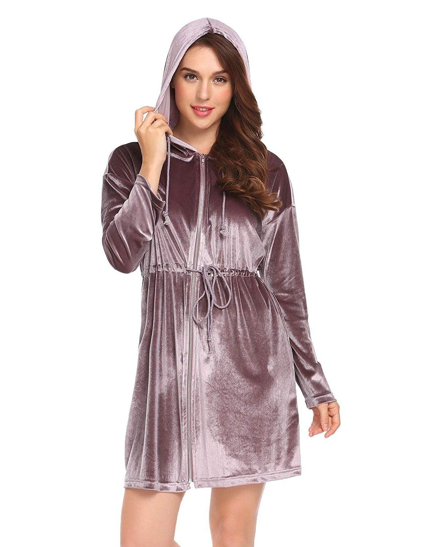 7670a981cd Womens Robe Kimono Cotton Lightweight Zip Up Hooded Bathrobe ...