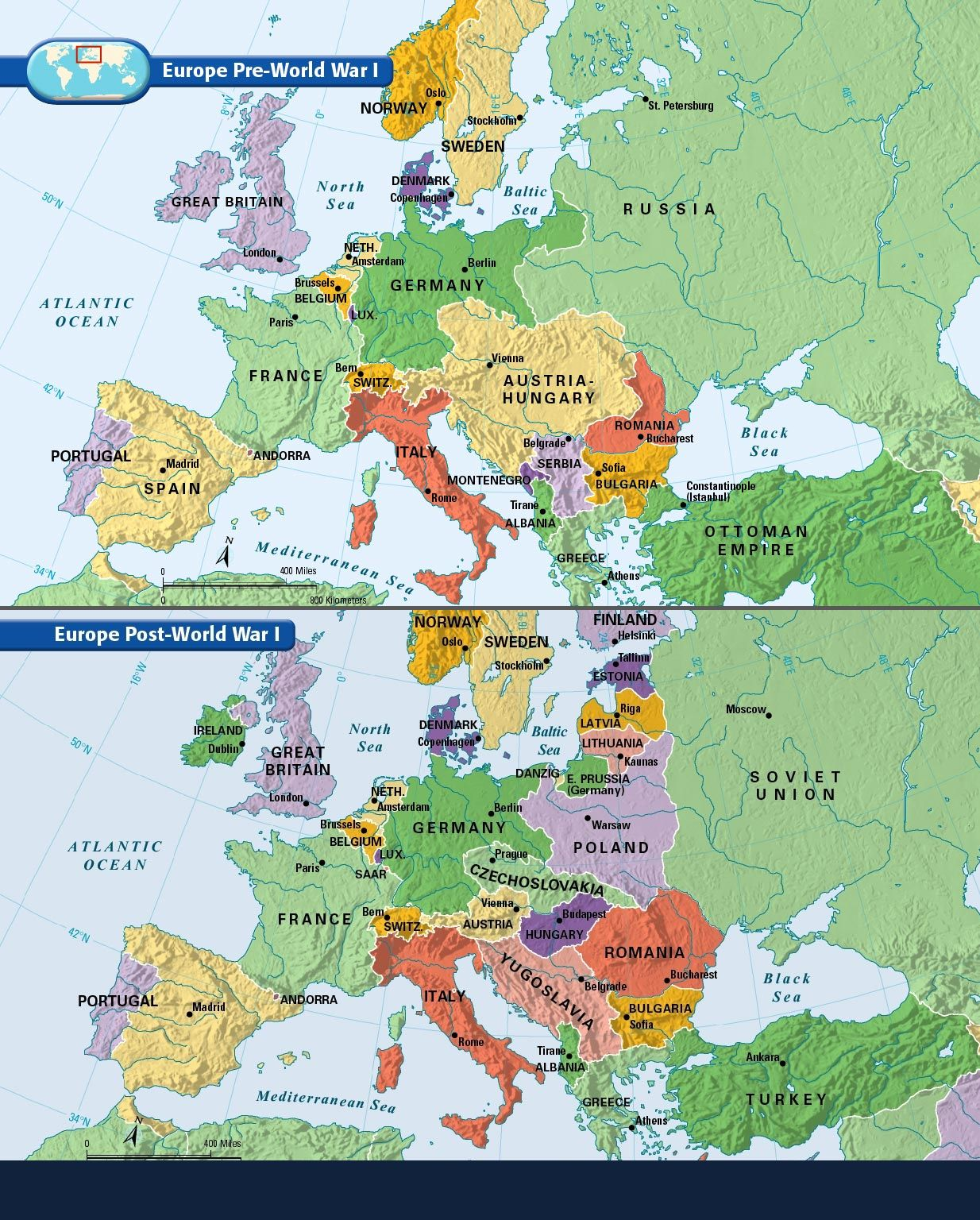 Europe Before And After The Great War Of 1914 1918 Europe Map