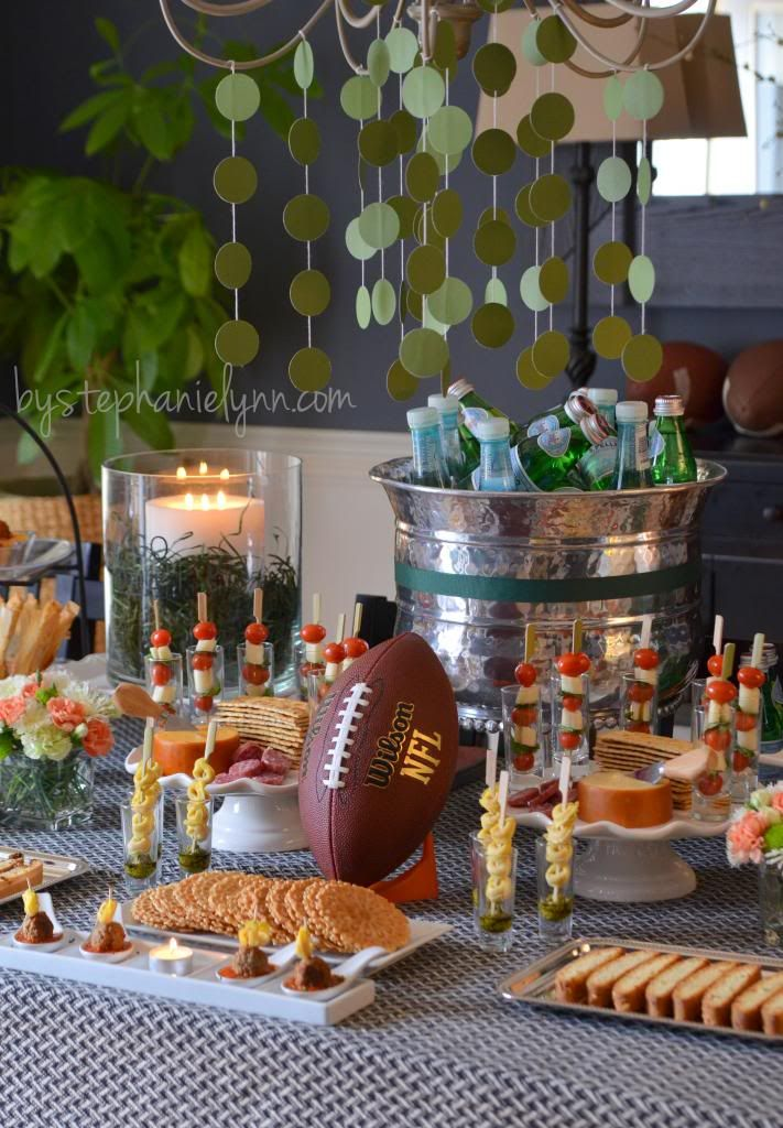 Game day party table pasta bar italian buffet and pasta for Outdoor brunch decorating ideas