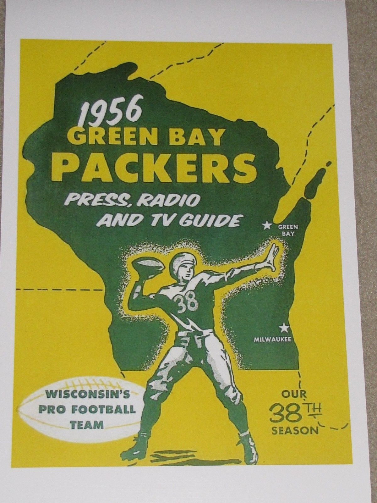 1956 Green Bay Packers Poster Lambeau Field Vince Lombardi Bart Starr Green Bay Packers Green Bay Green Bay Packers Fans