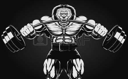Vector Illustration Strong Rhino Doing Exercise With Dumbbells Vector Illustration Lion Images Vector