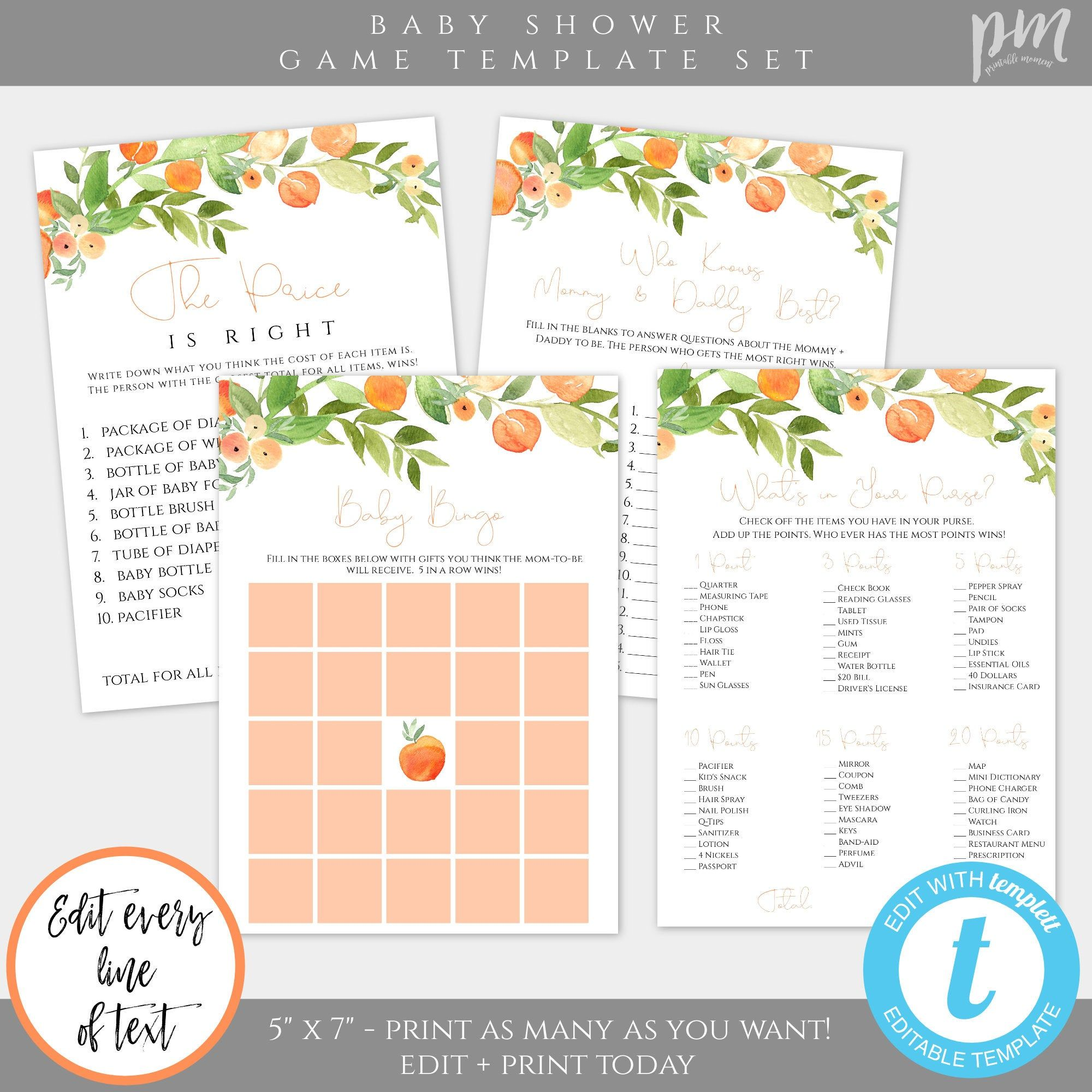 Sweet As A Peach Baby Shower Game Template Set Game Bundle Etsy Peach Baby Shower Baby Shower Games Baby Shower