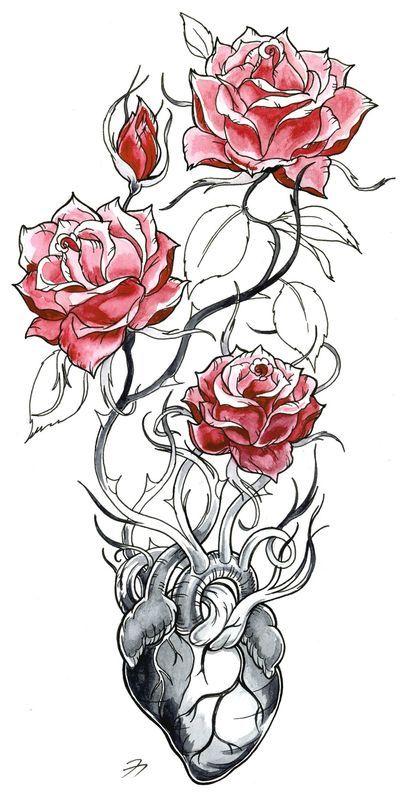 heart flower scan colorweb tatoo pinterest tatouages essayer et peinture. Black Bedroom Furniture Sets. Home Design Ideas