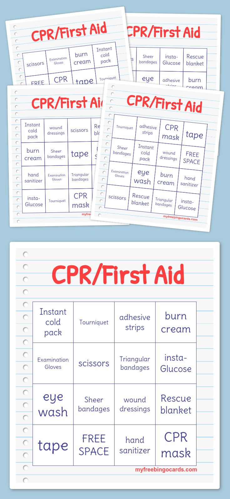 cpr  first aid bingo