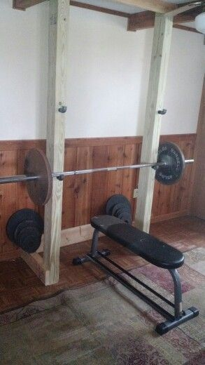 Diy Squat Rack And Bench Less Than 60 In Materials Diy Home Gym Home Made Gym Diy Gym Equipment