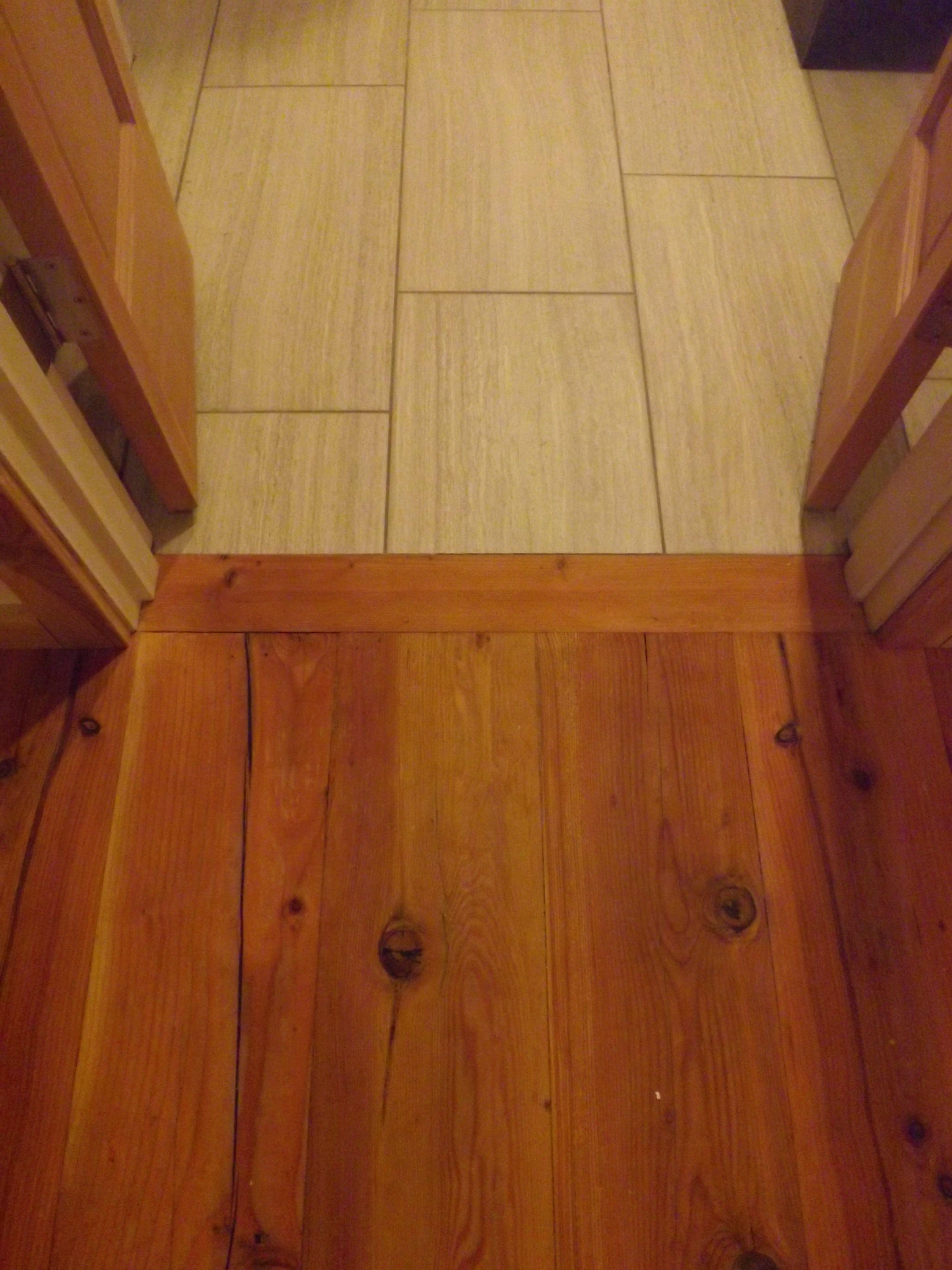 Tile To Wood Floor Transition Transition From Bedroom Wood Floors To Porcelain Bathroom Floors Flooring Refinishing Hardwood Floors Refinishing Floors