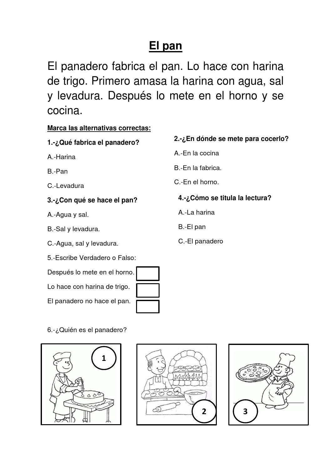 EL PAN:COMPRENSION LECTORA PARA EL SEGUNDO GRADO DE PRIMARIA ...