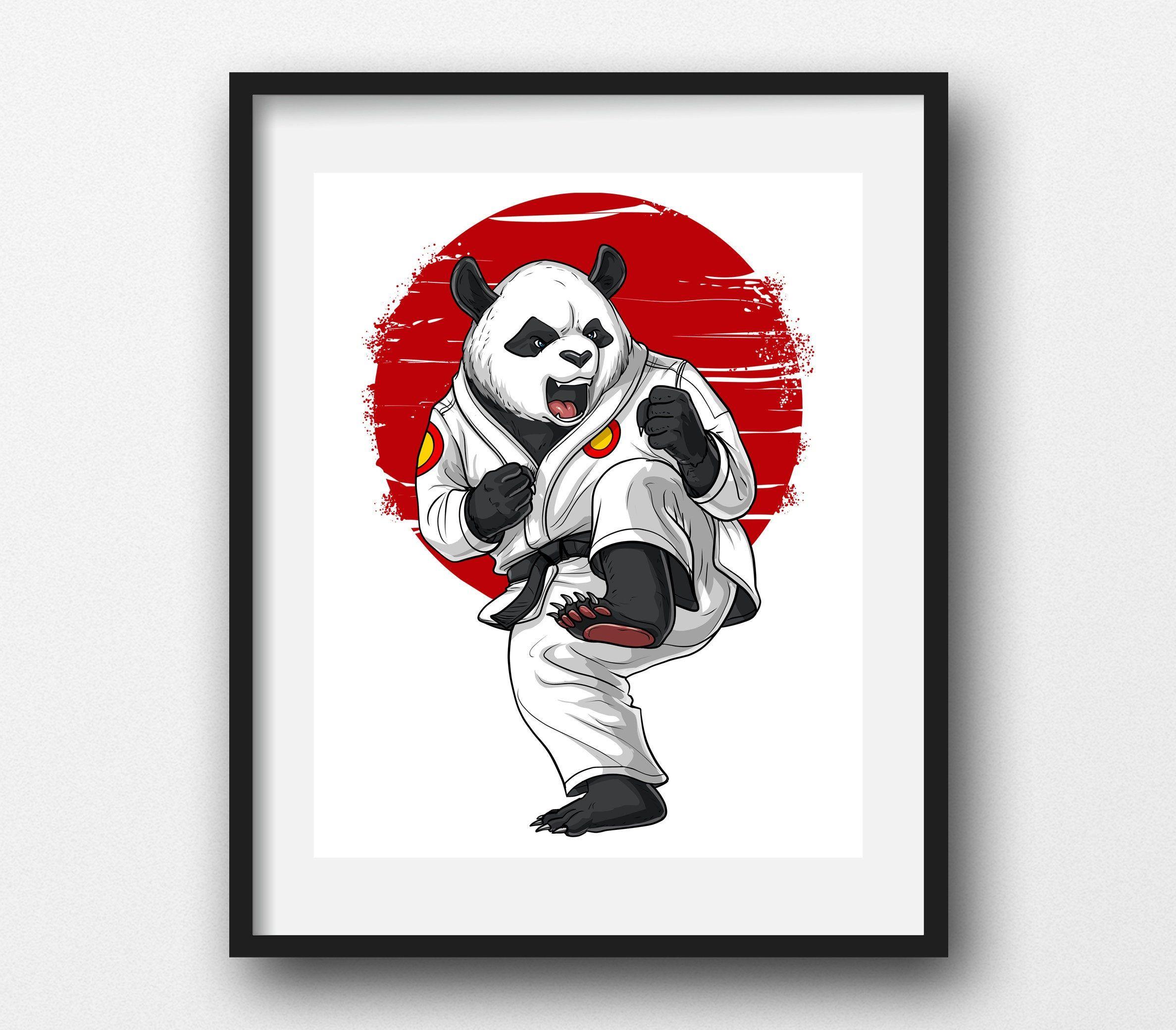 Panda Bear Karate Canvas Poster Taekwondo Ninja Art Print Etsy Canvas Poster Funny Art Prints Art Prints