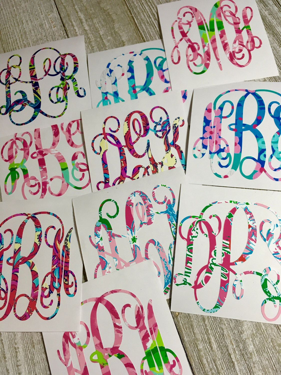 Lilly Pulitzer Inspired Monogram Decal Vine Script Initials Back - College custom vinyl decals for car windows
