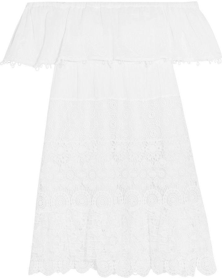 Anjuna Maria Off-the-Shoulder Crochet-Paneled Cotton-Gauze Mini Dress