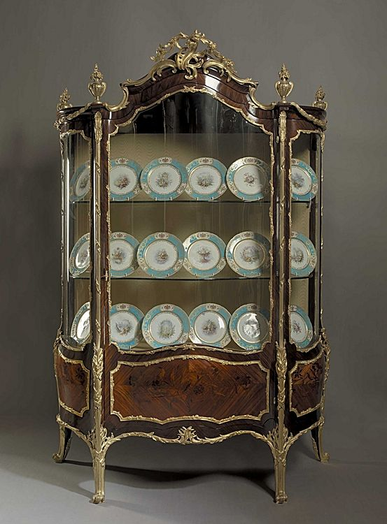 Kingwood, Marquetry and Gilt Bronze Louis XV Style Display Cabinet, French circa 1870 NEED!