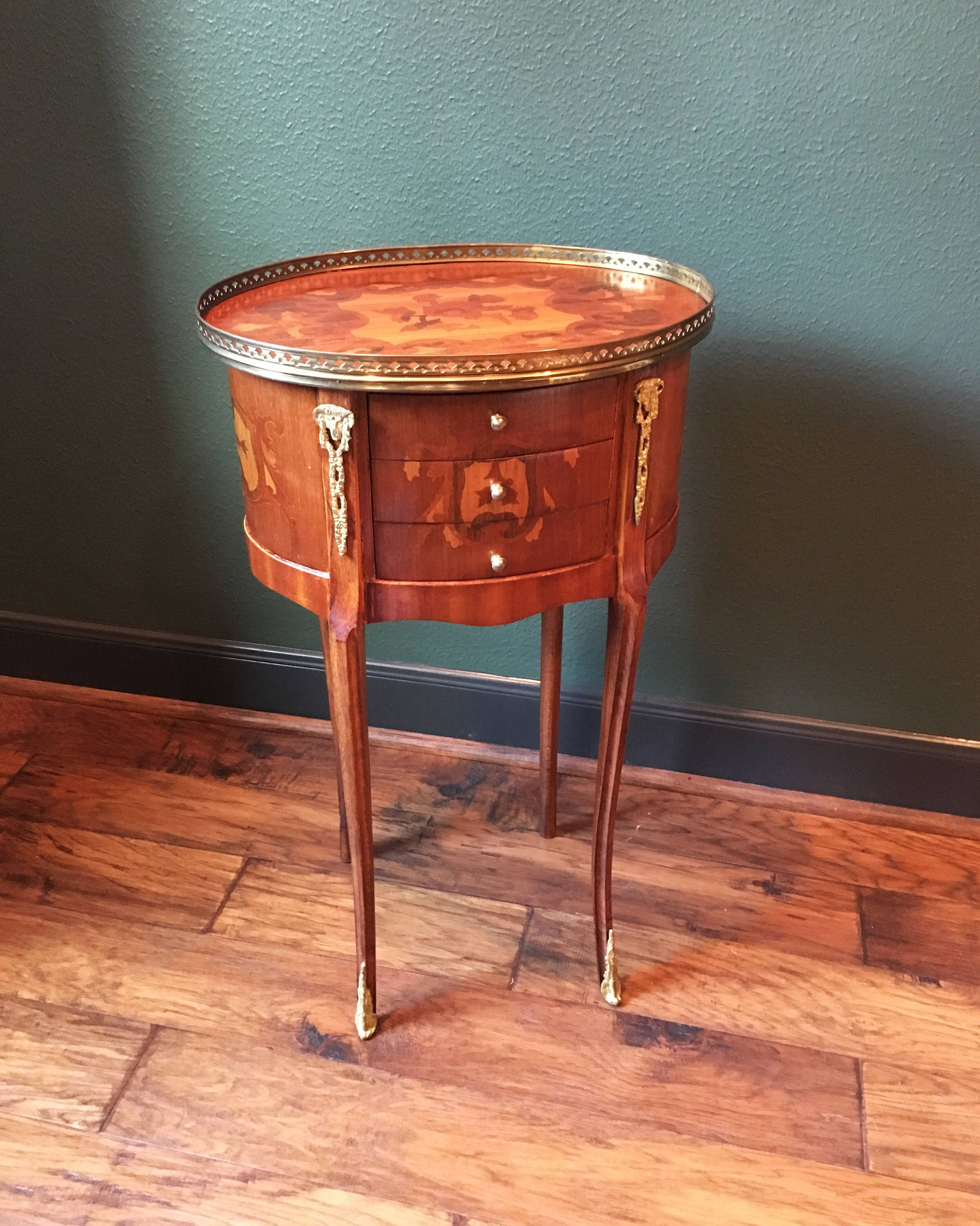 Louis XV Marquetry Side Table French Nightstand