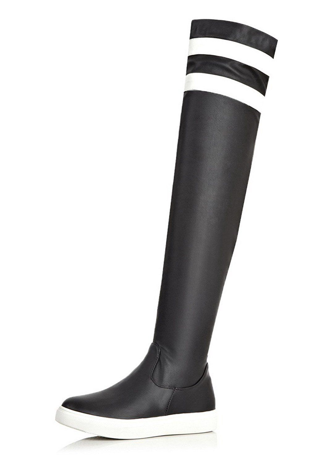 Women's Round Closed Toe PU Zipper High-heels Above-the-knee Boots