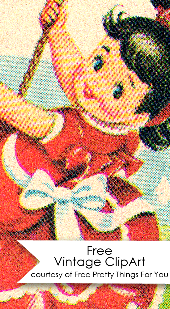 Free Vintage Clip art : Charming Little Girl On Swing! - Free Pretty Things For You