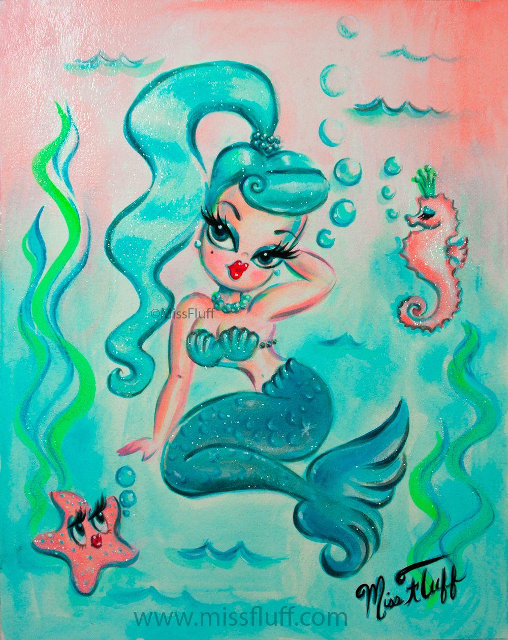 Candy blue ponytail babydoll mermaid original painting