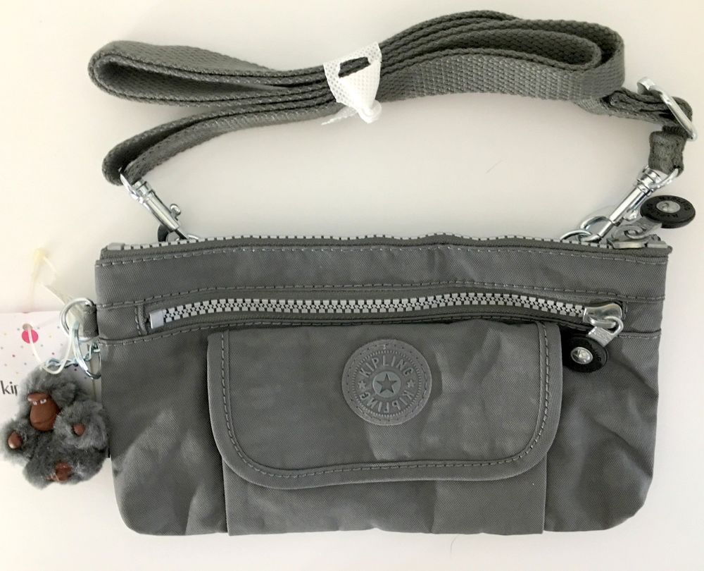 KIPLING Alwyn Crossbody Shoulder Clutch Bag Gray Nylon AC7806 Monkey Light  NEW  Kipling  Crossbody e9438a8b05