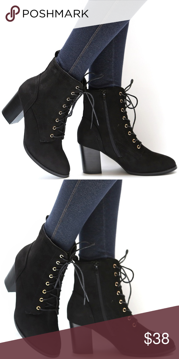 568671a3901 New Black Lace Up Block Heel Ankle Boots Booties New Black Lace Up ...