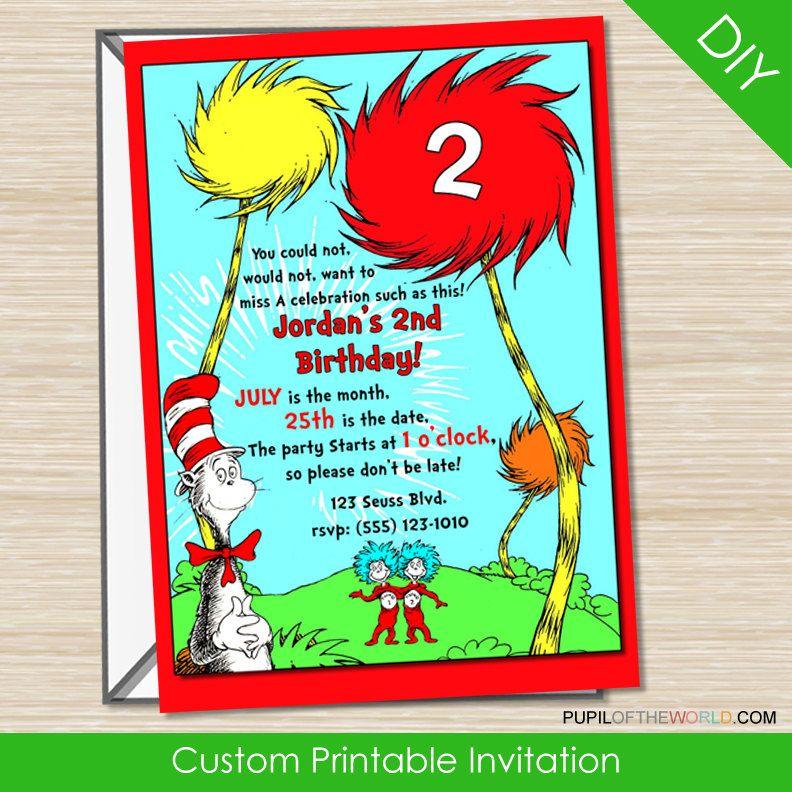 Dr Seuss Cat in the Hat Birthday Party Invitation - Custom Digital ...
