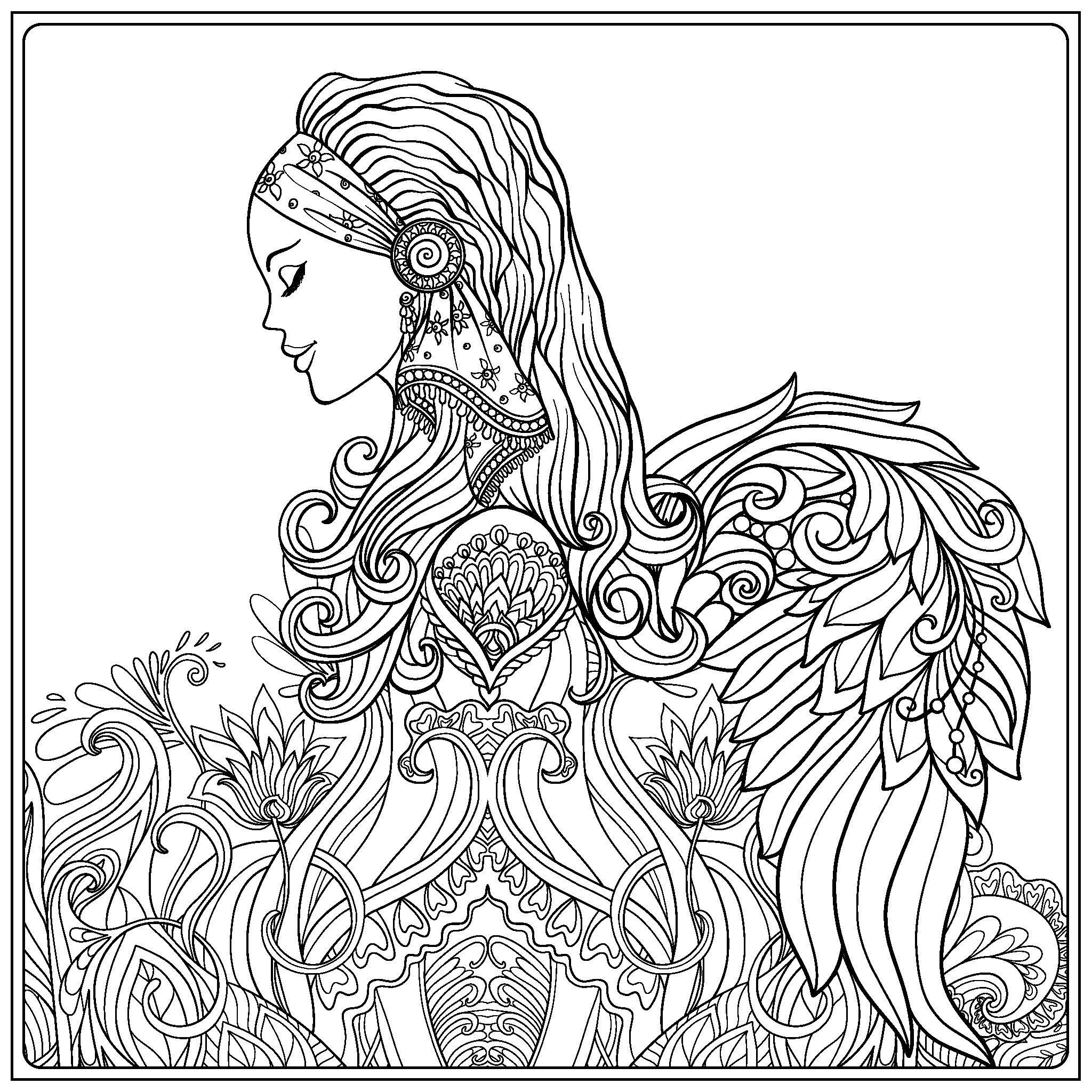 Beautiful angel coloring page | Angel coloring pages ...