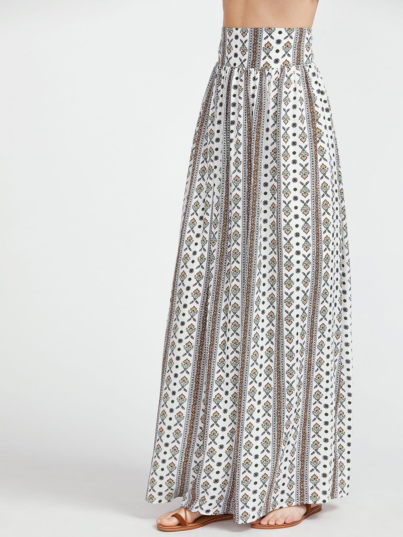 Falda larga con estampado con cinturilla ancha - multicolor -Spanish  SheIn(Sheinside) 962bea711962
