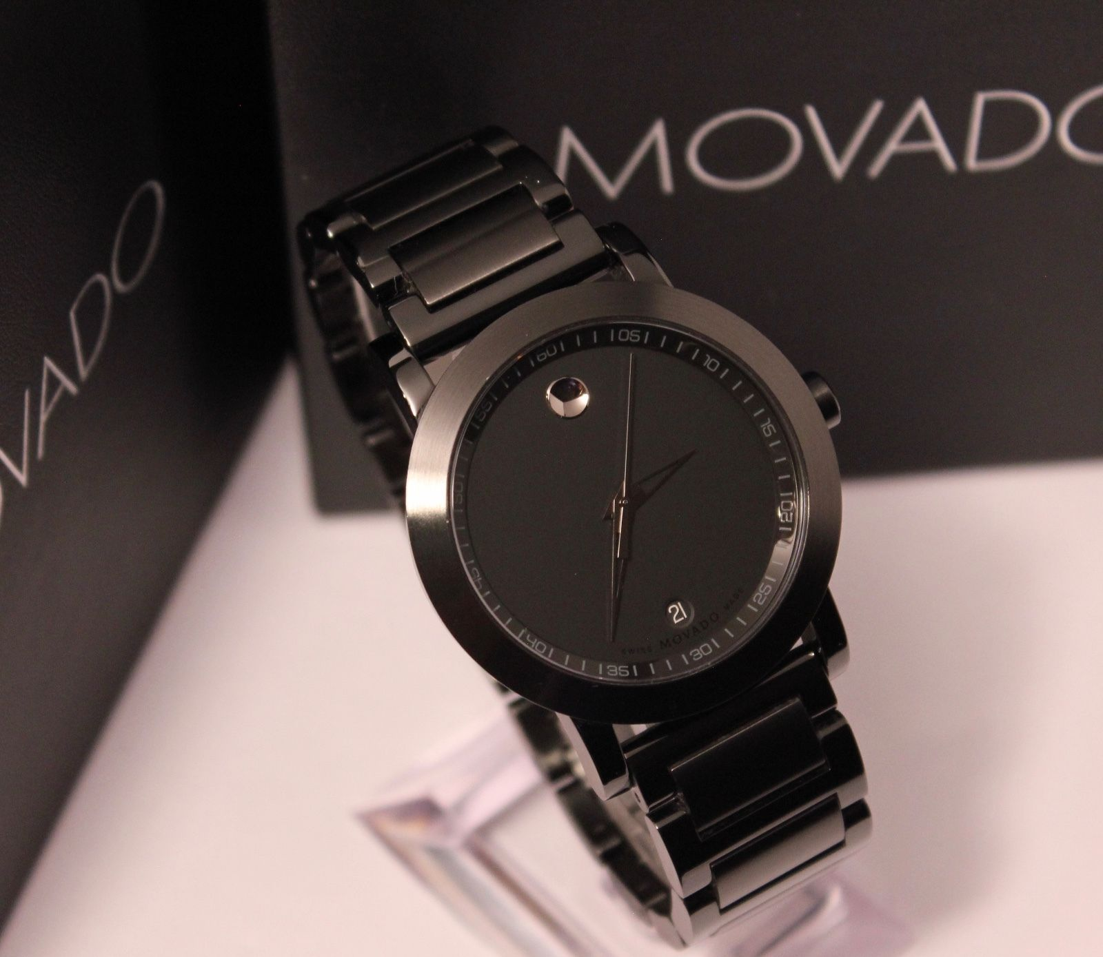 b5c08b988 Movado Museum Sport Black PVD Swiss Men's Watch $1295 42mm 0606615 ...