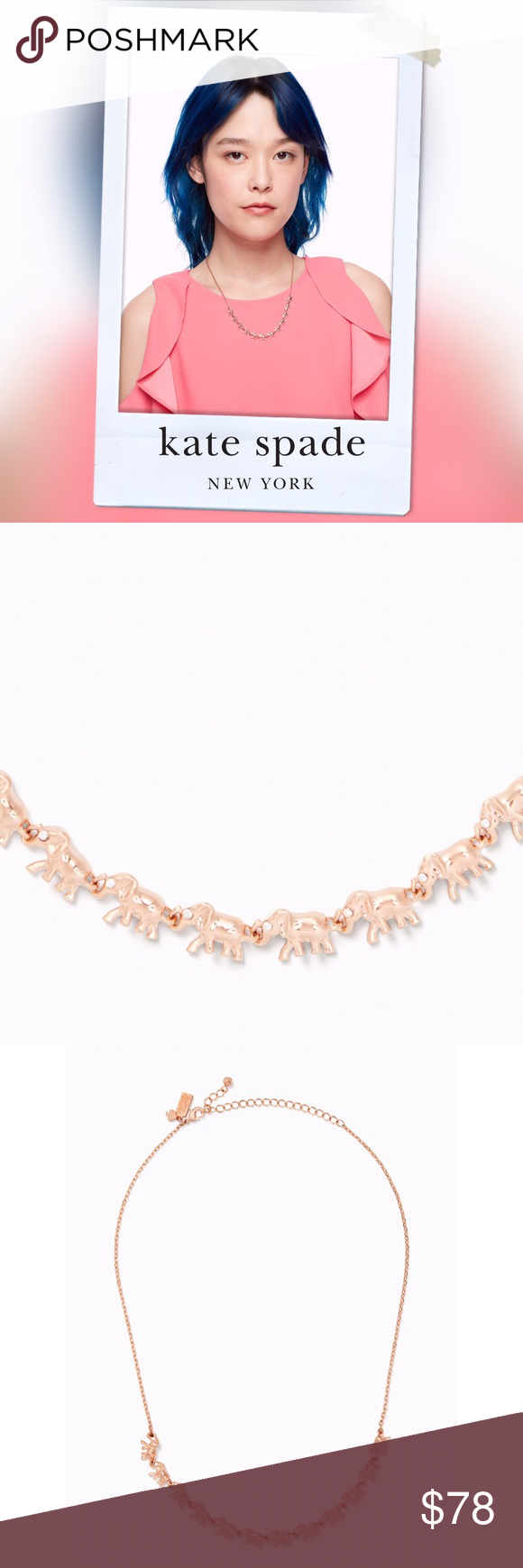 31e0d5f047767 Kate Spade Things we Love Elephant Necklace NWT. Rose gold. kate ...