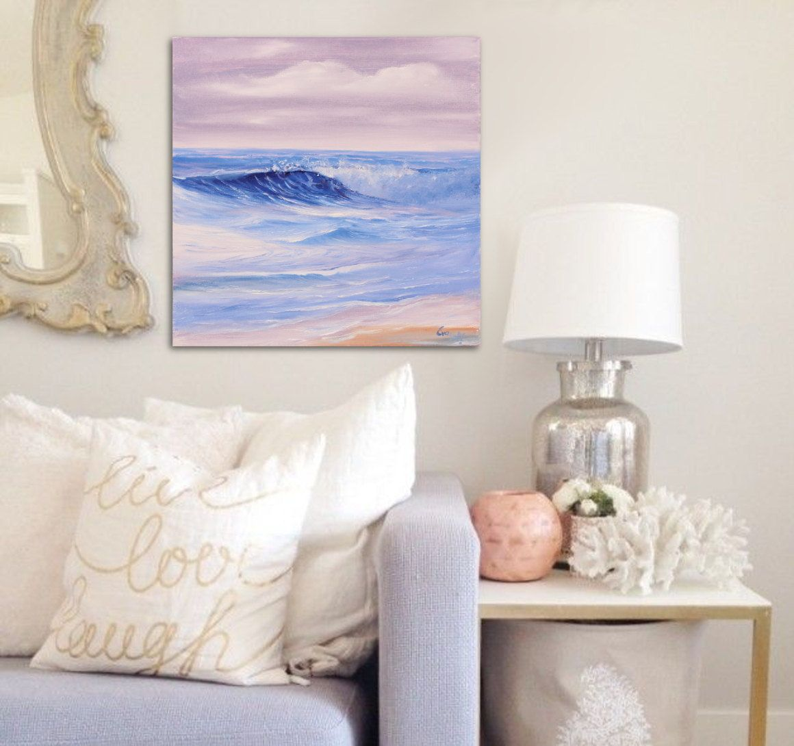 Home interiors and gifts paintings - Here Comes The Sun In A Home Interior Fresh Original Seascape Miniature Painting A Perfect Gift