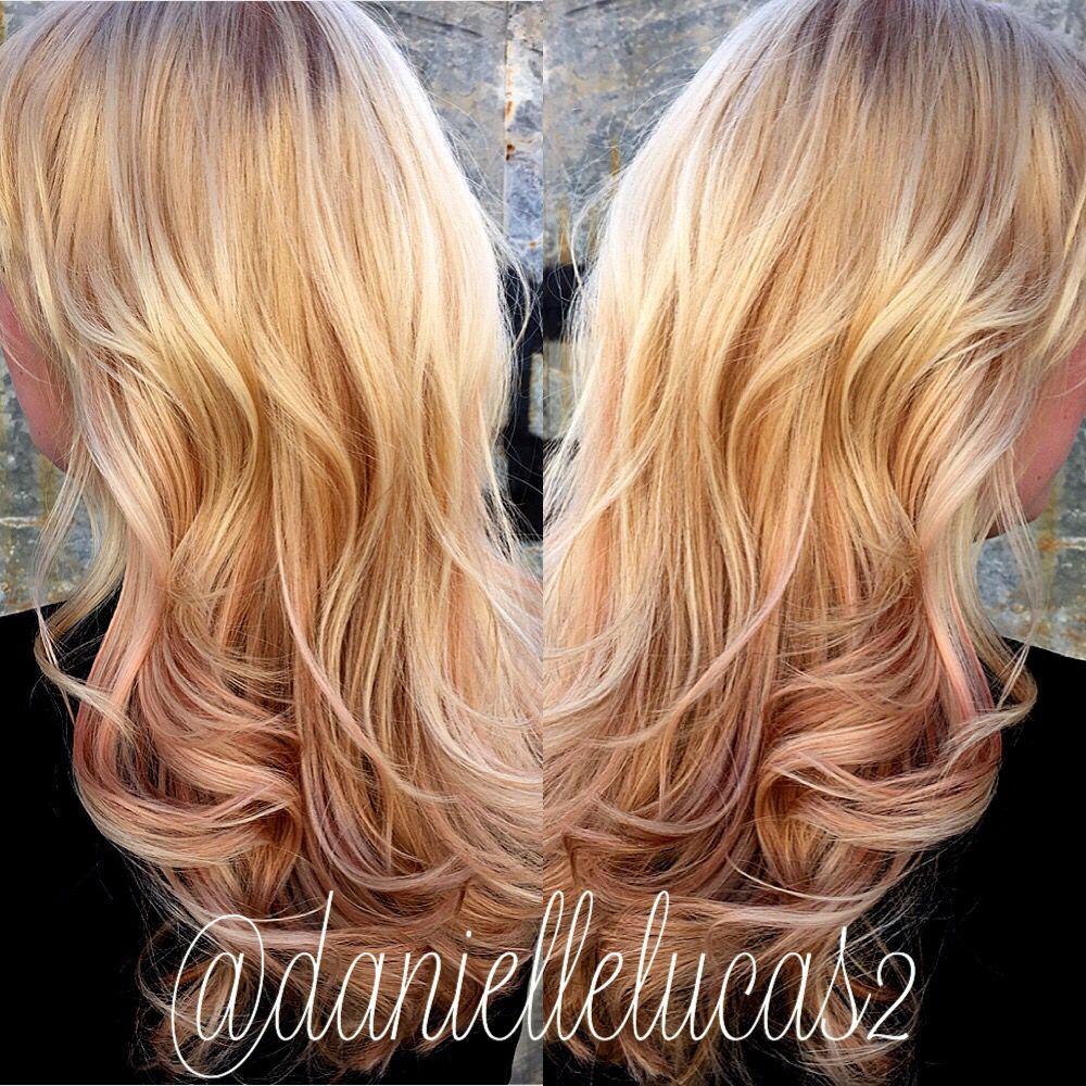 Rose Gold Balayage Blonde Hair