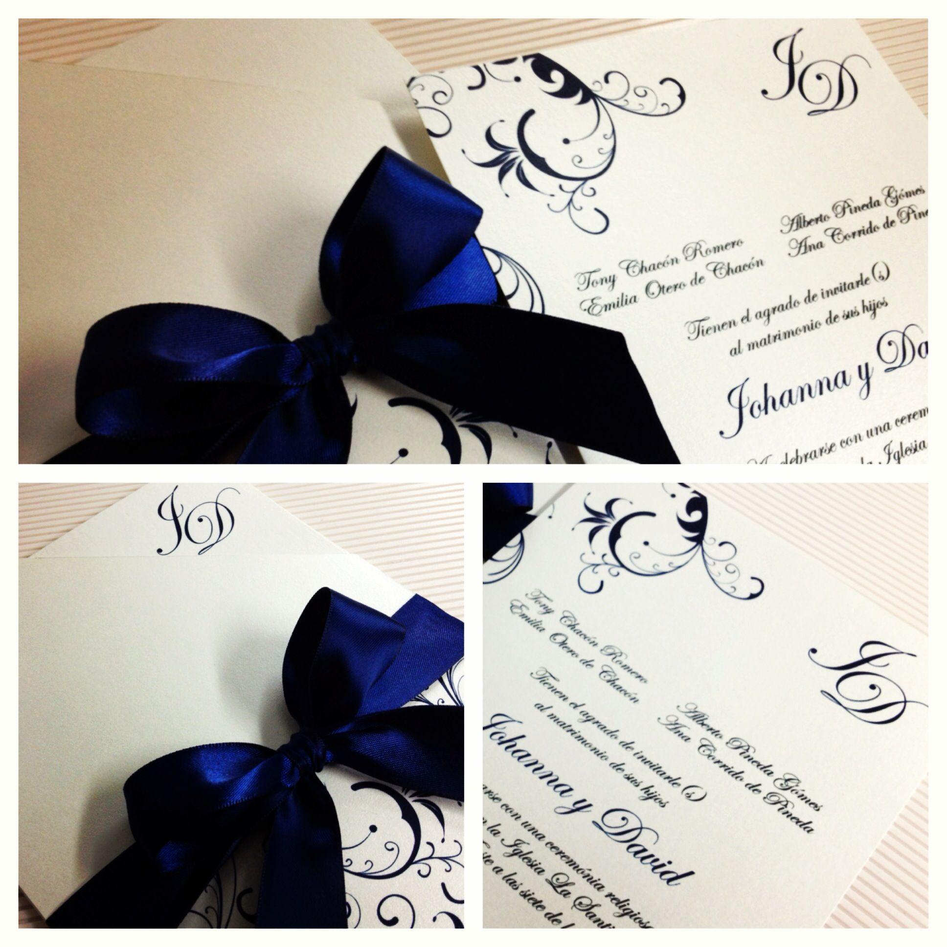 Invitación Para Boda Azul Invitaciones De Boda Azul Marino
