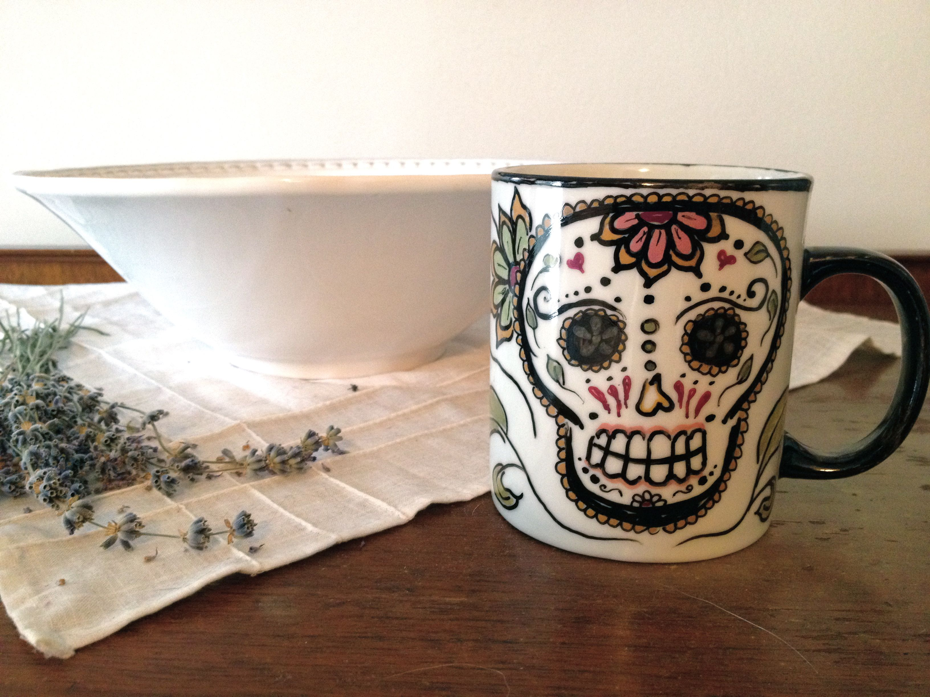 Day of the Dead sharpie mug